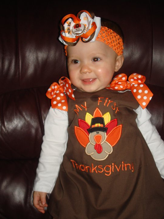 Custom Applique Brown Turkey Thanksgiving Dress