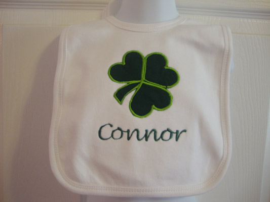Custom Applique St. Patrick's Day Shamrock Bib