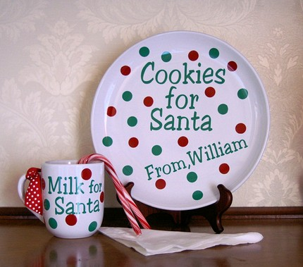 Cookies and Milk for Santa Christmas Plate and Mug