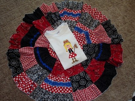 Custom Boutique Rodeo Cowgirl Twirl Skirt and Tee Shirt Set