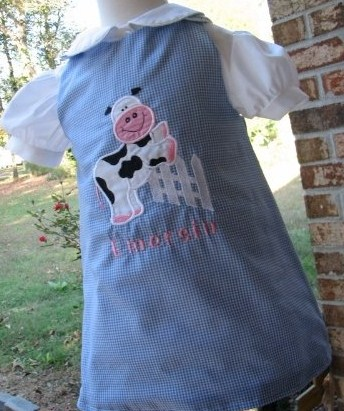 Custom Aline Cow Jumps Fence Dress