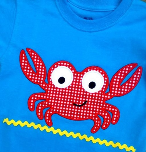 Custom Applique Crab Beach Shirt