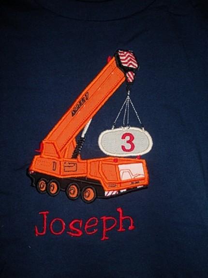 Custom Applique Crane Birthday Shirt