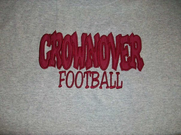 Custom Applique Crownover Middle School Football Shirt