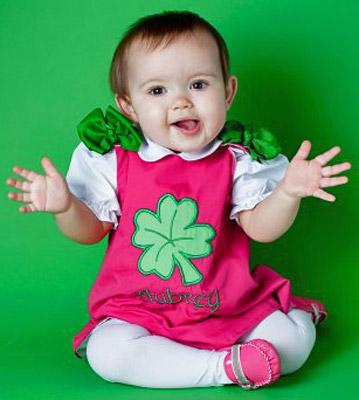 Custom Boutique St. Patrick's Day Shamrock Clover Dress- pink