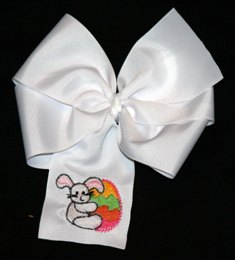 Boutique White Embroidered Easter Egg Bow