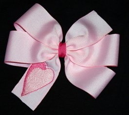 Pink Embroidered Heart Valentine's Day Hair Bow