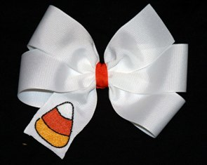 Boutique Candy Corn Halloween Hair Bow