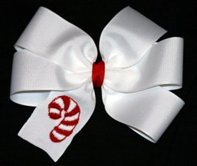 Embroidered Custom Christmas Candy Cane Bow