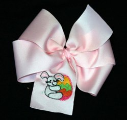 Pink Embroidered Easter Egg Hair Bow