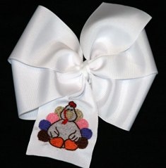 Boutique Embroidered Turkey Thanksgiving Hair Bow