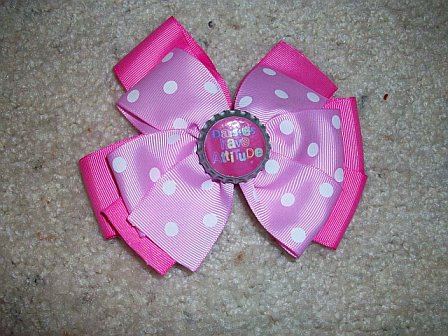 Daisies Have Attitude Girl Scout Bottle Cap Hair Bow (pink on pink and white polka dots)