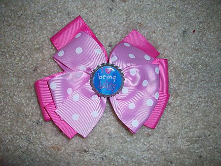 I Love Being A Daisy Custom Bottle Cap Bow (pink on pink and white polka dots)