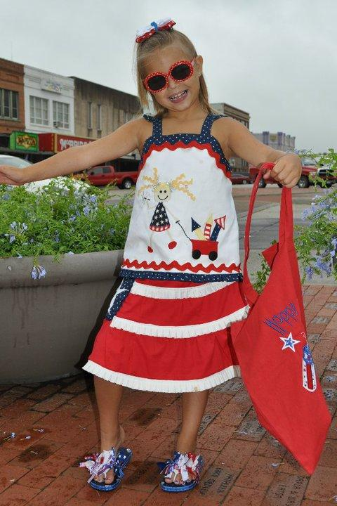 Custom 4th of July Applique Top with Matching Ruffle Skirt