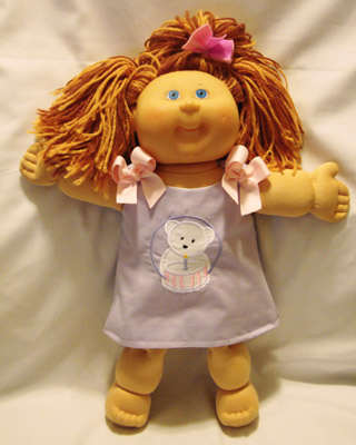Custom Applique Birthday Bear Doll Dress