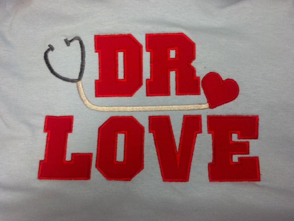 Custom Applique Dr. Love Valentine Shirt