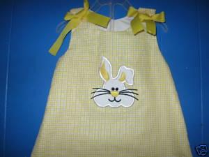 Custom Applique Easter Bunny Yellow Aline Dress