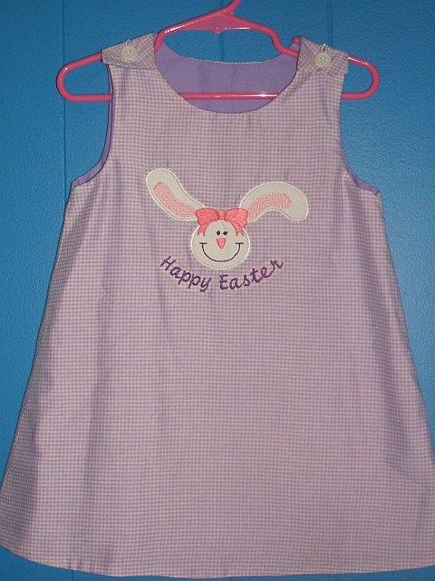 Custom Easter Bunny Purple Gingham Dress