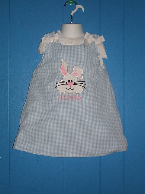 Custom Easter Bunny Applique Light Blue Gingham Dress