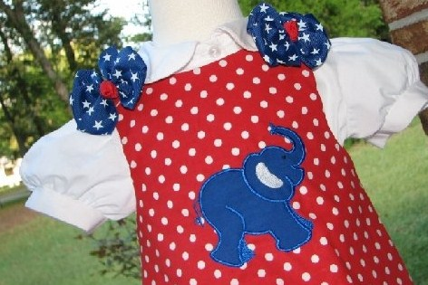 Custom Aline Republican Elephant Dress