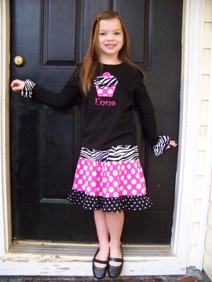 Custom Applique Cupcake Birthday Skirt Set