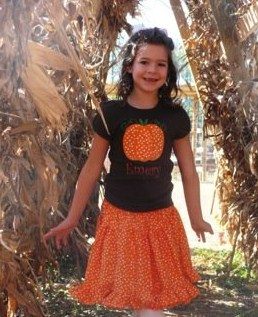 Custom Applique Pumpkin Shirt and Matching Skirt