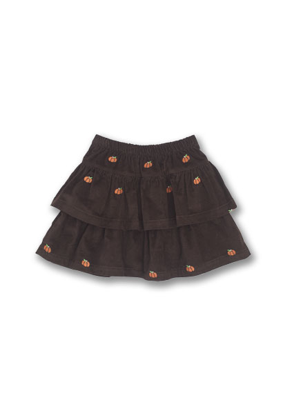 Kelly's Kids Pumpkin Schiffli Cord Double Ruffle Skirt