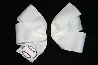 Boutique Embroidered Baseball Hair Bow