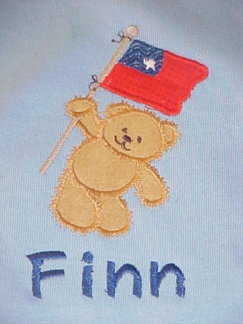 Custom 4th Of July Applique Bear Flag Shirt