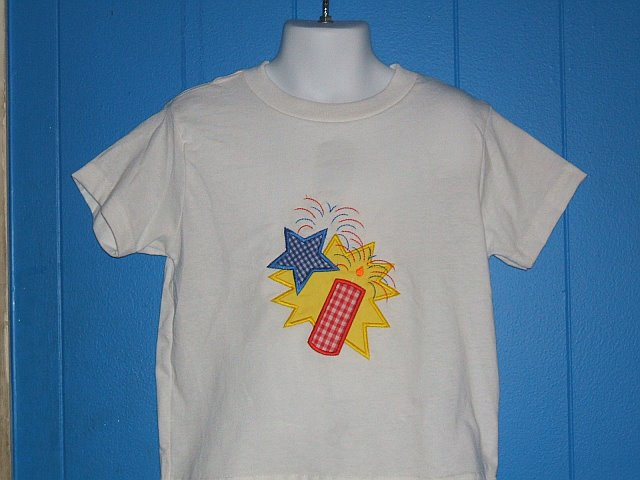 Custom Applique Firecracker 4th of July Shirt