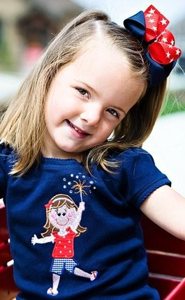 Custom 4th of July Little Girl With Fireworks Applique Shirt