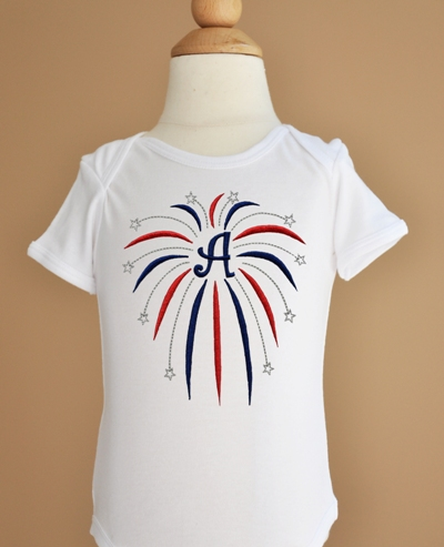 Custom Patriotic Fireworks Monogram Shirt