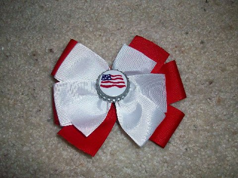 Custom Flag Bottle Cap Bow- 4th of July