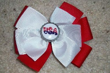 Custom 4th of July USA Bottle Cap Bow