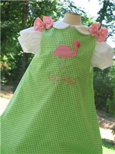 Custom Boutique Flamingo Beach  Aline Jumper Dress