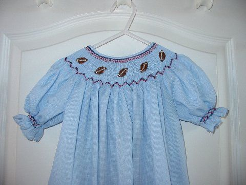 Custom Smocked Football Bishop Dress