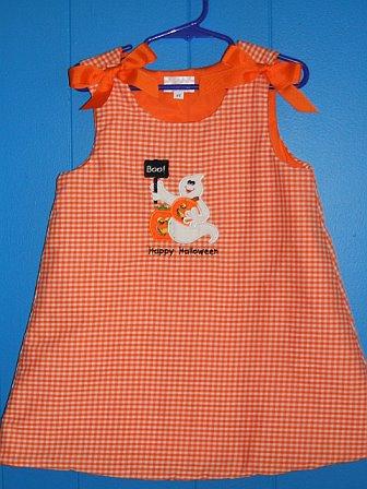 Custom Applique Ghost / Pumpkin Halloween Dress