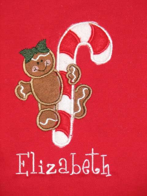 Custom Applique Gingerbread GIrl Candy Cane Christmas Shirt
