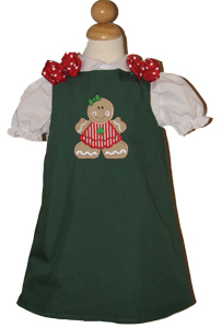 Custom Christmas Gingerbread Girl Dress (green)