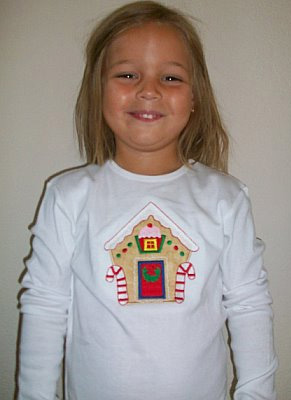 Custom Applique Gingerbread House Shirt