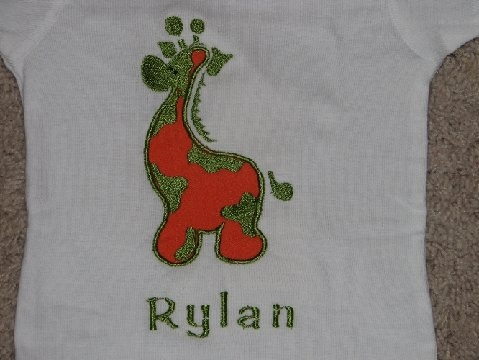 Custom Applique Giraffe Zoo Shirt