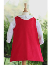 Custom Red Corduroy Aline Dress- You choose applique!