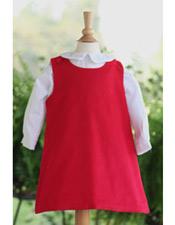 Custom Red Corduroy Aline Dress- You choose applique!