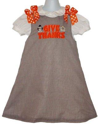 Give Thanks Custom Pilgrim Applique Thanksgiving Dress