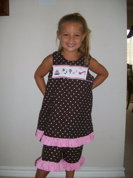 Custom Smocked Girly Girl Polka Dot Outfit