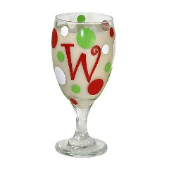 Monogrammed Initial Modern Holiday Goblet
