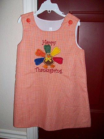 Custom Thanksgiving Turkey Orange Gingham Applique Dress