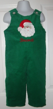 Custom Christmas Santa Applique Longall (green corduroy)