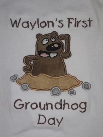 Custom Applique Groundhog Shirt (1)