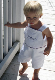 The Hamptons Pique Romper - White with Navy Trim